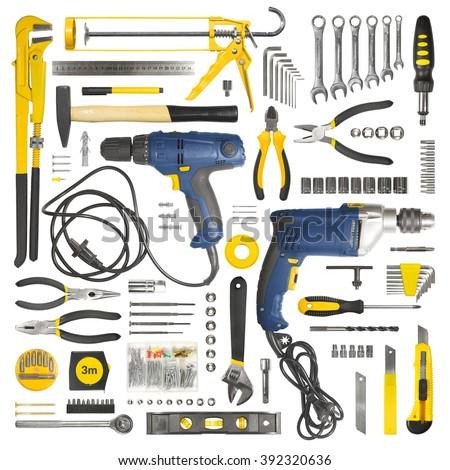 Many tools isolated on white background - stock photo