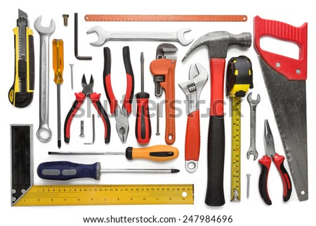 Many Tools isolated over a white background - stock photo