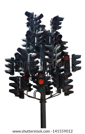 Many traffic lights in one. Isolated on white. - stock photo