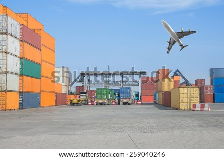 Many truck  at checkpoint area in port - stock photo