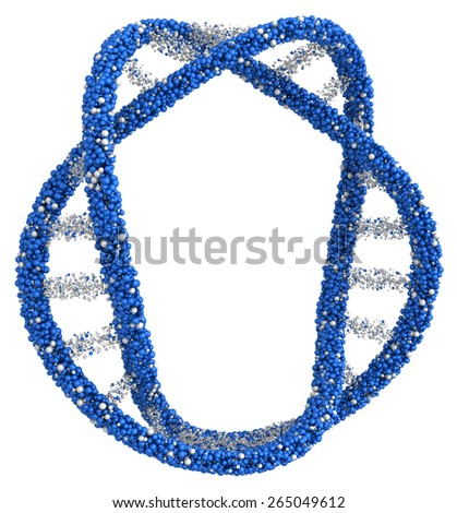 Many United reflecting balls into the DNA molecule. - stock photo