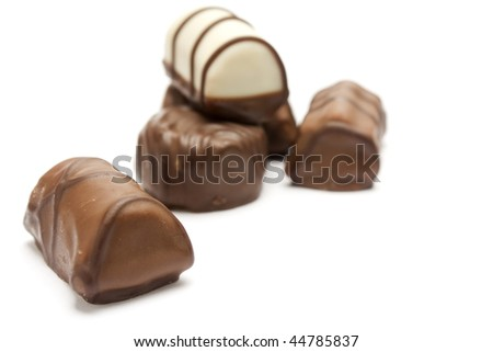 many variations of delicious chocolat bonbons isolated