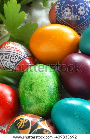 many various colorful easter eggs vertical background - stock photo