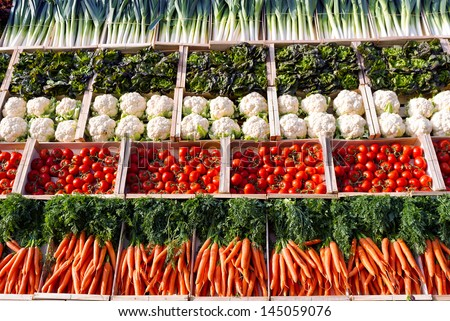 Many vegetables in supermarket - stock photo