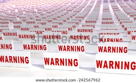 Many warning signs. - stock photo