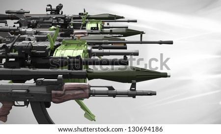 many weapon/arsenal on light background