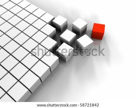 Many white cubes and one red, abstract rendering