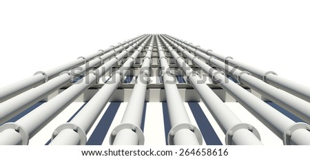 Many white industrial pipes stretching into distance. Isolated on white background. Transportation concept - stock photo