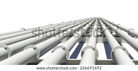 Many white industrial pipes with shadow. Isolated on white background - stock photo