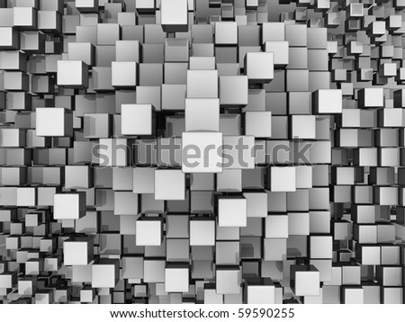 Many white reflective cubes, top view, 3d render abstract background