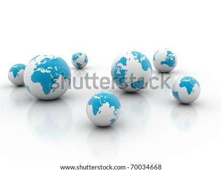 Many world globes - stock photo