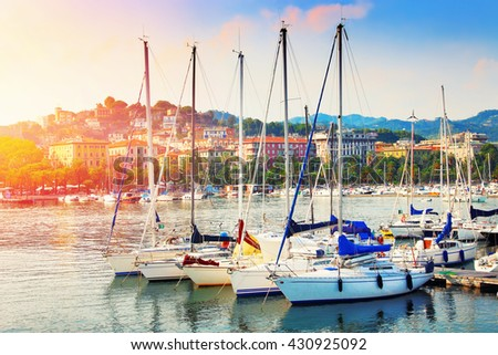 Many yachts in the harbor in La Spezia, Liguria province, Italy. Summertime leisure. - stock photo