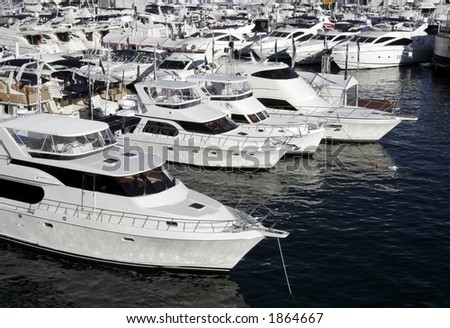 Many Yachts Lying At Darling Harbour, Sydney - stock photo