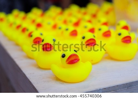 Many yellow duck doll
