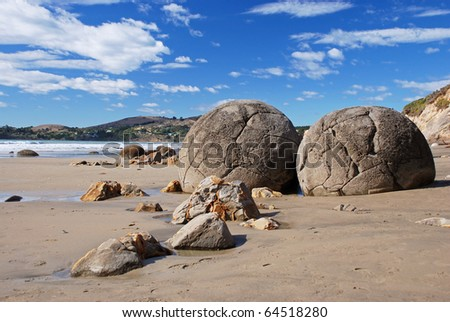 Maoraki boulders, New Zealand - stock photo