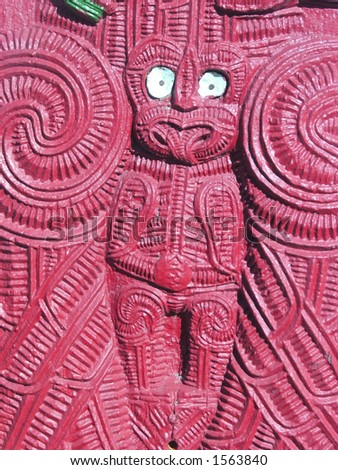 Maori carving on Marae gate - stock photo