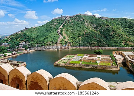 Maota Lake and Gardens of Amber Fort in Jaipur, Rajasthan, India  - stock photo