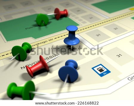map and colored pins - stock photo