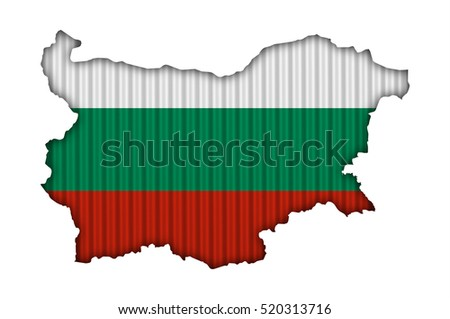 Map and flag of Bulgaria on corrugated iron