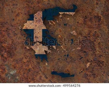 Map and flag of Greece on rusty metal