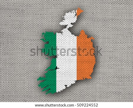 Map and flag of Ireland on old linen
