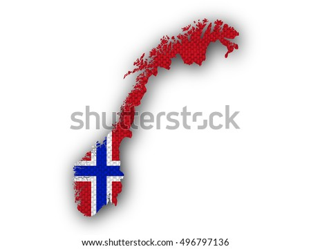 Map Norway Flag Colors D Render Stock Illustration - Norway map and flag