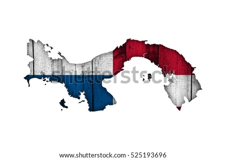 Map and flag of Panama on weathered wood