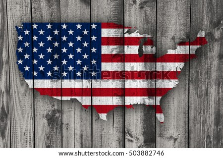 Map and flag of the USA on weathered wood