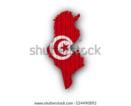 Map and flag of Tunisia on corrugated iron