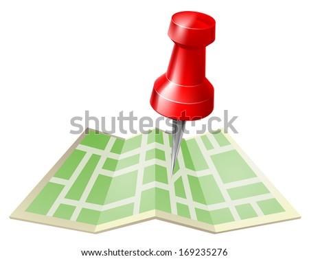 Map and pin icon of a tack or map pin about to go into a paper folded map - stock photo