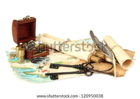 map and treasures, isolated on white