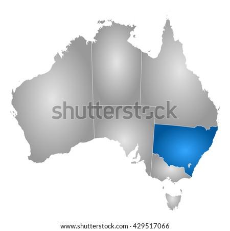 Map - Australia, New South Wales - stock photo