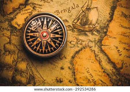 Map, Compass, Old. - stock photo