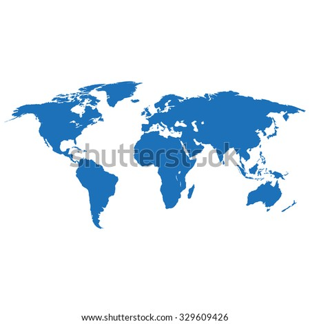 Map earth in flat design on white  background - stock photo