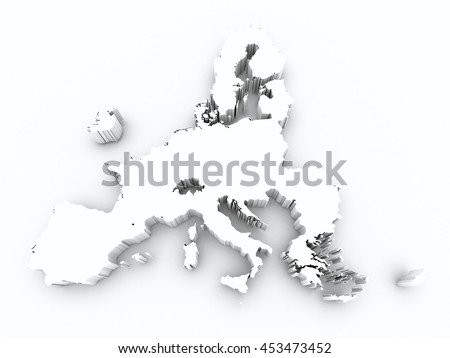 map europe union after brexit on white isolated - stock photo