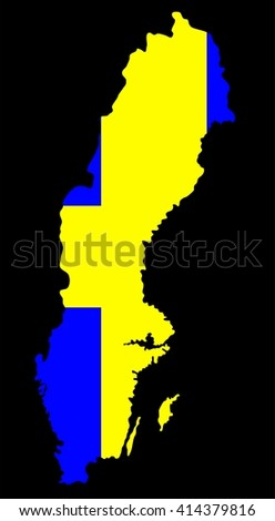 Map geographical territory outline and flag of country Sweden. Black. - stock photo