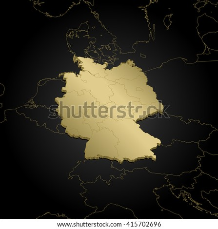 Map - Germany - 3D-Illustration