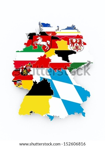 map germany with state flags on white isolated  - stock photo