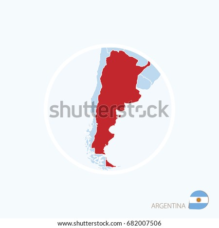 Map Icon Argentina Blue Map America Stock Vector - Argentina globe map