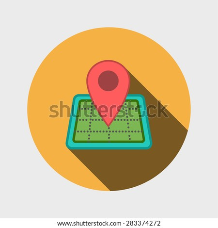 Map icon with Pin Pointer - stock photo