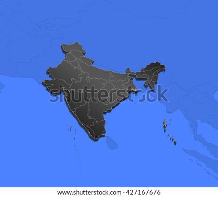 Map - India - stock photo
