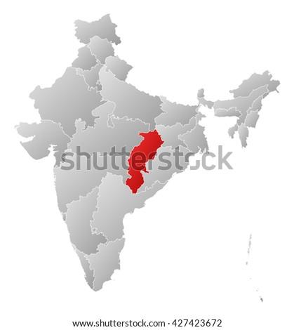 Map - India, Chhattisgarh - stock photo