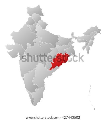 Map - India, Orissa - stock photo