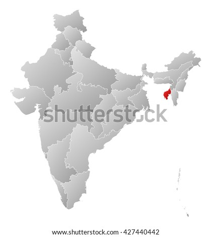 Map - India, Tripura - stock photo