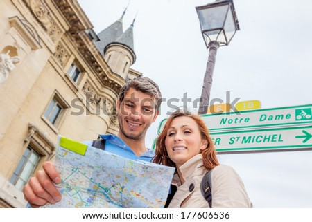 map looking tourist in france  - stock photo