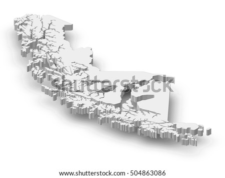 Map - Magellan and Chilean Antarctica (Chile) - 3D-Illustration