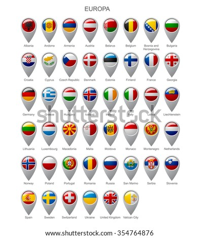 Map marker set with state flags of sovereign countries of Europa with captions in alphabet order isolated on white background - stock photo