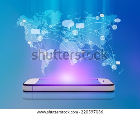 Map messages and chat over mobile phone - stock photo
