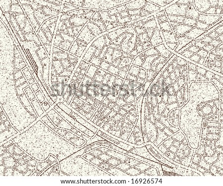 Map of a generic city with grunge and no names - stock photo