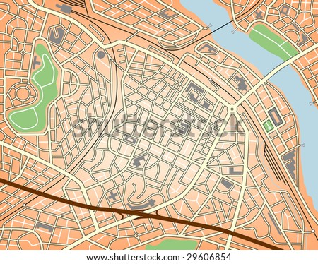 Map of a generic city with no names. Editable vector file (.eps) also available. - stock photo